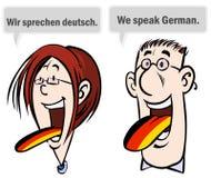 We speak German. Cartoon illustration of a woman and man speaking German Royalty Free Stock Images