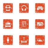 Speak icons set, grunge style. Speak icons set. Grunge set of 9 speak vector icons for web isolated on white background vector illustration