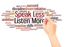 Speak Less Listen More word cloud hand writing concept. On white background stock photo