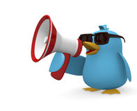Speak loud. Cool blue bird with a megaphone on a white background Royalty Free Stock Photos