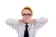 Speak No Evil. Business woman in the Speak No Evil pose over white Royalty Free Stock Images