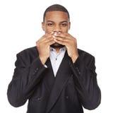 Speak No Evil - businessman isolated on white Royalty Free Stock Photography