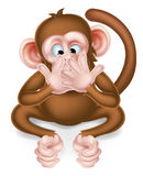 Speak No Evil Cartoon Wise Monkey. Covering his mouth Stock Photos