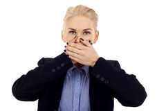 Speak No Evil pose over white Stock Photos