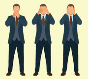 Speak No Evil, See No Evil, Hear No Evil. Businessman. Business man covering his eyes, ears and mouth Royalty Free Stock Photos