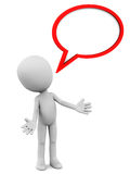 Speak out. 3d little man speaking out with a speech bubble in red on white background Stock Images