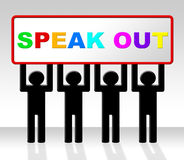 Speak Out Indicates Say Your Mind And Attention. Speak Out Showing Say Your Mind And Explain Stock Photo