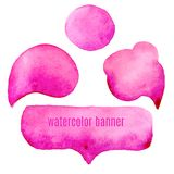 Speak pink bubbles watercolor set  Royalty Free Stock Image