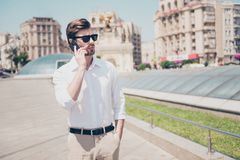 Speak talk tell communication organize people concept. Portrait. Of handsome serious attractive busy smart rich luxurious wearing drecc-code sharp dressed Stock Photos
