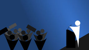 Speak to the crowd. A man (politician/leader) speaks to the crowd Royalty Free Stock Images