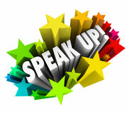 Speak Up Rally Protest Injustice 3d Words Stars Royalty Free Stock Photo