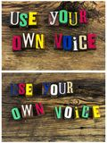 Speak up use your own voice collage. Speak up out use your own voice share tell them story communication expression painted color sing singing record recording royalty free stock photos
