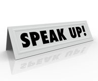 Speak Up Words Tent Name Card Share Opinion Stock Photography