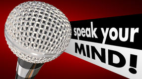 Speak Your Mind Microphone Words Royalty Free Stock Image