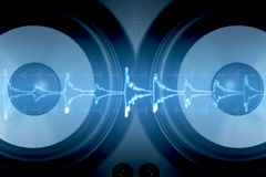 Speaker. Sound wave and two speakers Royalty Free Stock Images