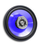 Speaker. Blue coaxial car speaker isolated on white Stock Images