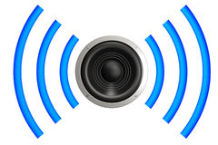 Speaker. With sound waves isolated over a white background. This is a 3D rendered picture