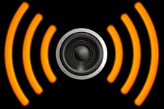 Speaker. With sound waves isolated over a black background. This is a 3D rendered picture vector illustration