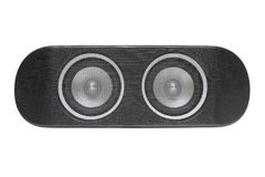 Speaker. Loudspeaker - black stereo loud speaker closeup isolated over white Stock Photo