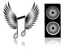 Speaker. In a grey background with stripes and music flying with wings vector illustration