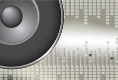 Speaker. Grey speaker with sound waves on background vector illustration