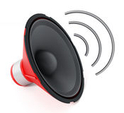 Speaker with abstract wave. 3D illustration Royalty Free Stock Photos
