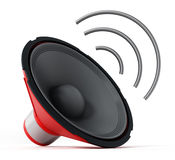Speaker with abstract wave. 3D illustration Royalty Free Stock Photography
