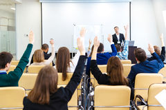 Free Speaker Answering The Questions Of Audience On Business Conference Stock Photography - 66824852