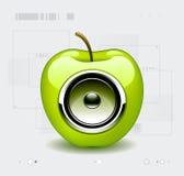 Speaker in apple. Glossy speaker in green apple royalty free illustration