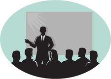 Speaker Audience Projector Screen Oval Woodcut. Illustration of a speaker talking in front of audience with a projector screen at the back set inside oval shape royalty free illustration