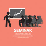 Speaker With Audiences In Seminar. Vector Illustration royalty free illustration