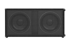 Speaker audio loud black, front view. Speaker audio loud black professional electronic, front view. 3D rendering Stock Image