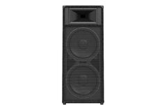 Speaker audio loud system, front view. Speaker audio loud system black modern, front view. 3D rendering Royalty Free Stock Image