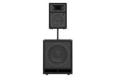 Speaker audio system, front view. Speaker audio system heavy metal, front view. 3D rendering Stock Photo