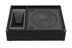 Speaker audio woofer, front view. Speaker audio woofer heavy amplifier, front view. 3D rendering Stock Photography