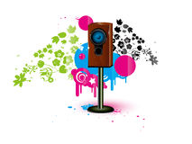 Speaker background. Vector colour background with loudspeaker, acoustic system wallpaper Royalty Free Stock Photos