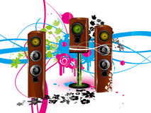 Speaker background. Vector colour background with loudspeaker, acoustic system wallpaper Stock Photos