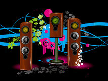 Speaker background. Vector colour background with loudspeaker, acoustic system wallpaper Stock Images