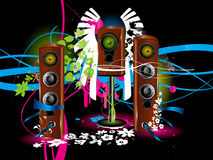 Speaker background. Vector colour background with loudspeaker, acoustic system wallpaper Stock Image