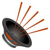 The speaker is black, the speaker emits a sound, an audio speaker. Royalty Free Stock Photos
