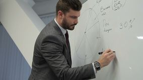 Speaker on board writes a schedule for effective investment in crypto currency. stock footage