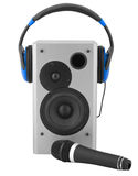 Speaker box, ear-phones and microphone. On white Stock Photos