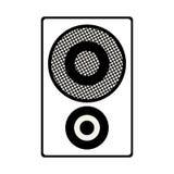 Speaker box icon. Silhouette of speaker bass box icon over white background. vector illustration Stock Images