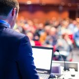 Speaker at Business Conference and Presentation. Royalty Free Stock Images