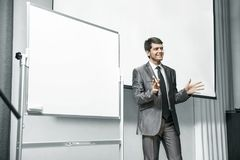 Speaker at business conferences standing in front of the Board for business presentations stock photos