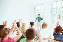 Speaker at Business Meeting in the conference hall. Royalty Free Stock Image
