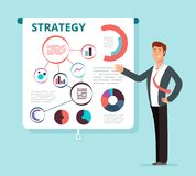 Speaker businessman shows successful finance strategy plan on projector screen. Business meeting, presentation, seminar. Vector concept. Illustration of Stock Images