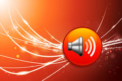 Speaker Button on Red Abstract Light Background Stock Images