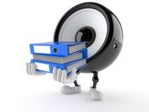 Speaker character holding folders. Isolated on white background Stock Images