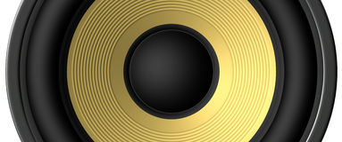 Speaker closeup. Yellow speaker closeup rendered for backgrounds Stock Photography